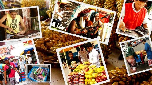 Im Stadtzentrum von Manaus drängeln sich nicht nur Mangowägen, Bananenstauden und sonstiges Obst an die Straßenränder und in die Markthallen, sondern auch Straßenverkäufer, Schuhflicker und Straßenmusiker vom Stamme der Inkas, beleben das Stadtbild.