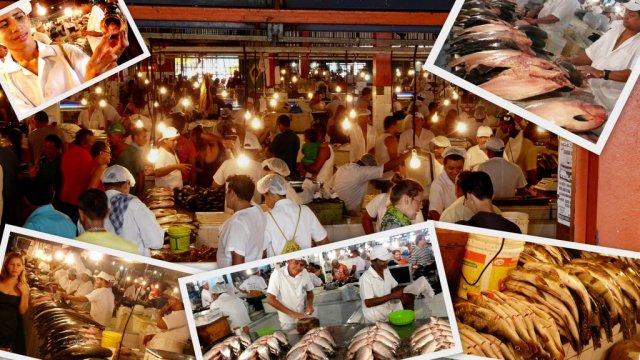 Der Fischmarkt in der großen Halle am Hafen.