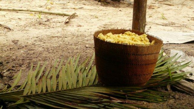 Mandioka wurde geraspelt und nun ausgequetscht. Am nächsten Tag wird sie auf den großen Platten getrocknet werden.